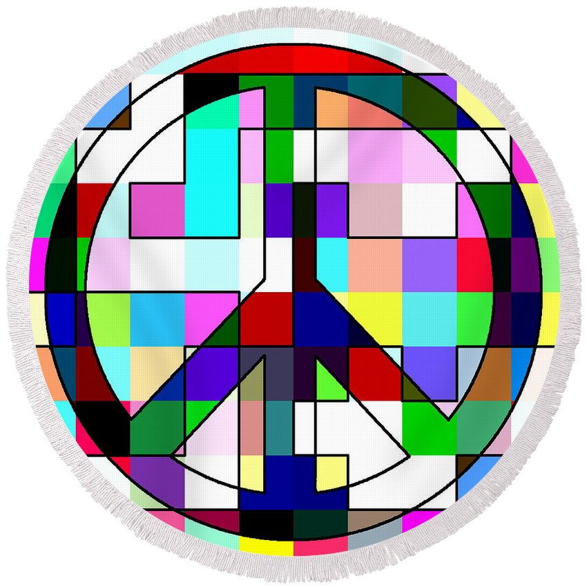 Peace Round Beach Towel featuring the digital art Patch Peace by Ron Hedges