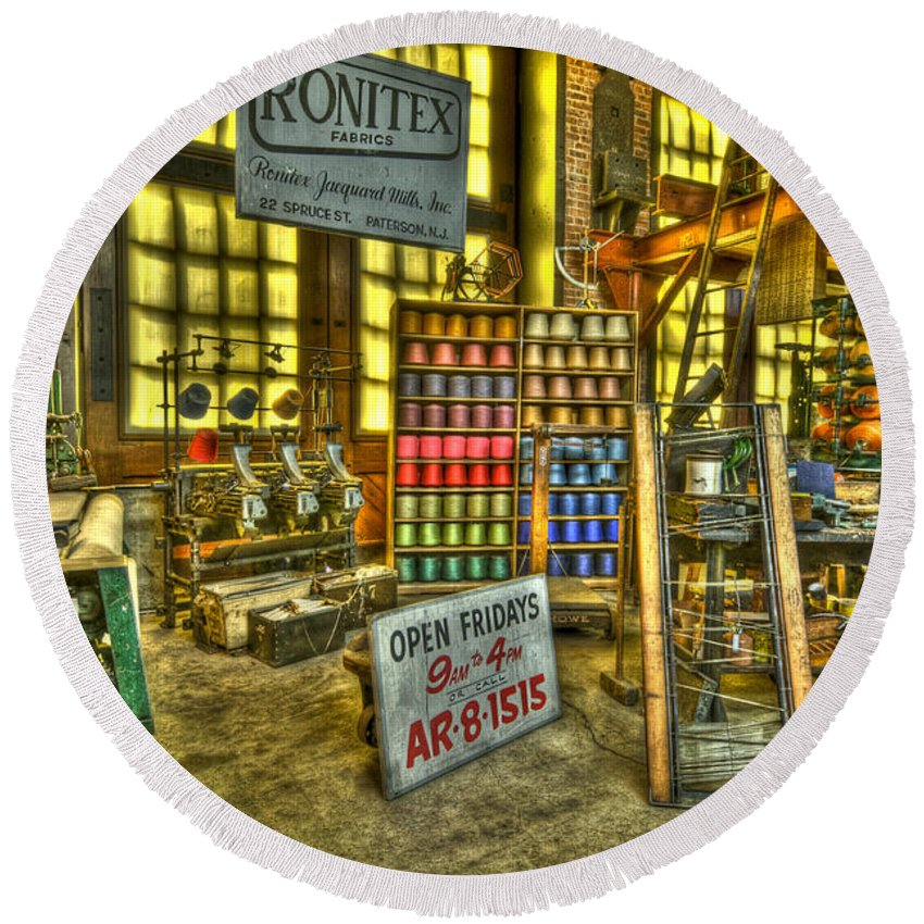 Paterson Round Beach Towel featuring the photograph Paterson Silk Mill by Anthony Sacco