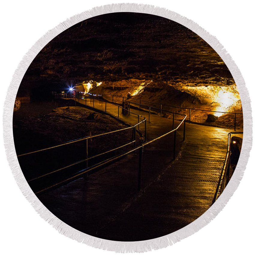 Meramec Caverns Round Beach Towel featuring the photograph Path Fork by Angus Hooper Iii