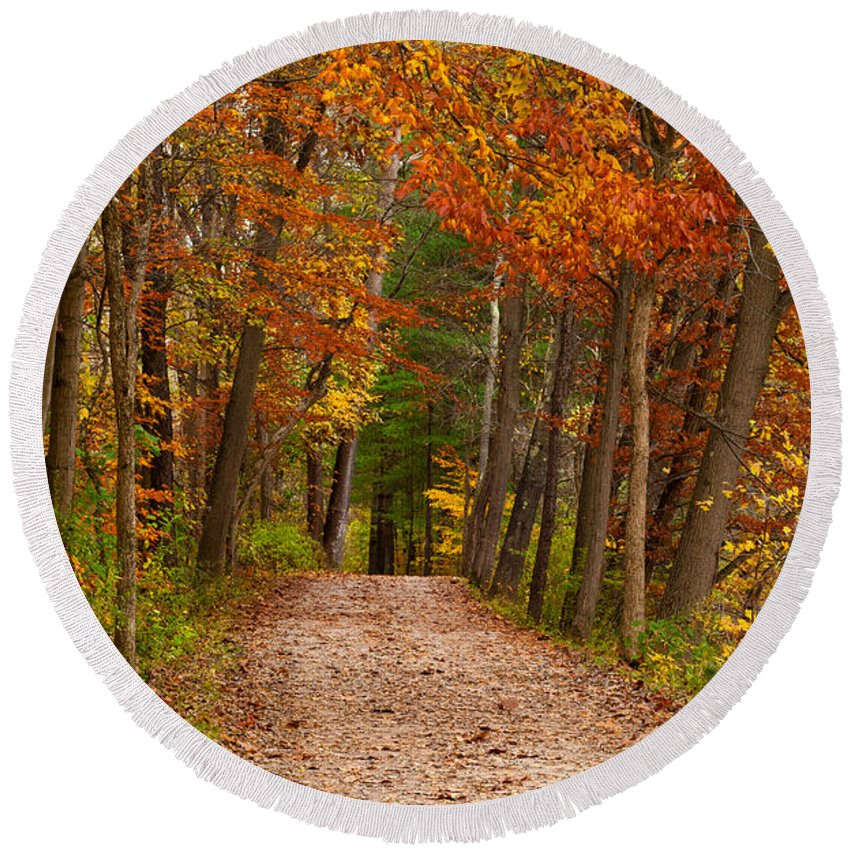 Ohio Round Beach Towel featuring the photograph Path In A Fall Woods by Kenneth Sponsler