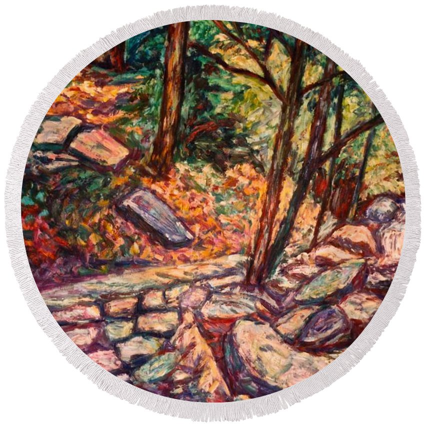 Landscape Round Beach Towel featuring the painting Path To The Cascades by Kendall Kessler