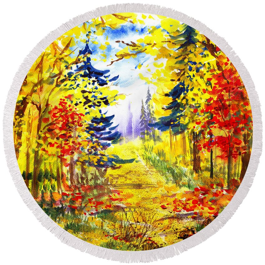 Landscape Round Beach Towel featuring the painting Path To The Fall by Irina Sztukowski