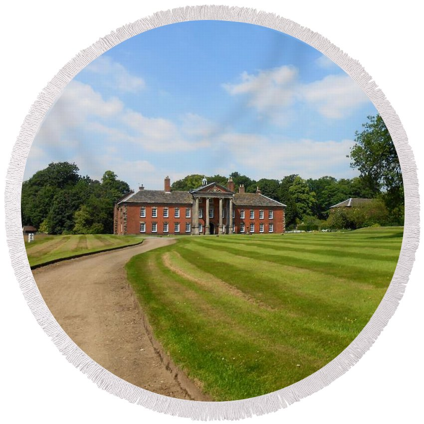 Path Round Beach Towel featuring the photograph Pathway To Adlington Hall by Joan-Violet Stretch