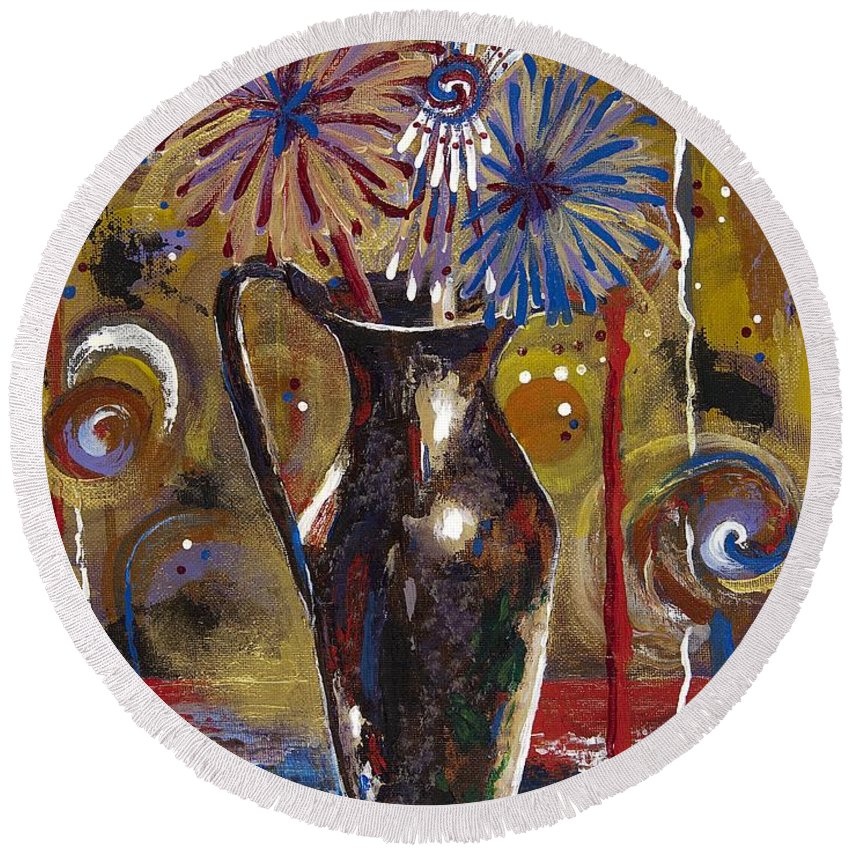 Contemporary Round Beach Towel featuring the painting Patriotism Blooms by Margaret Bobb