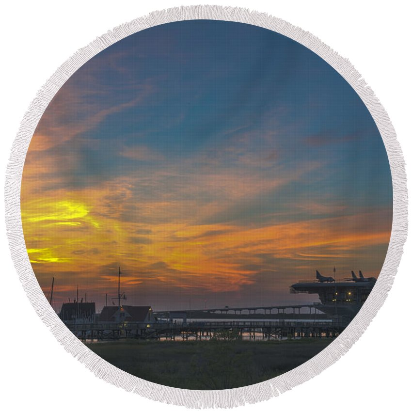 Sunset Round Beach Towel featuring the photograph Patriots Point Sunset by Dale Powell