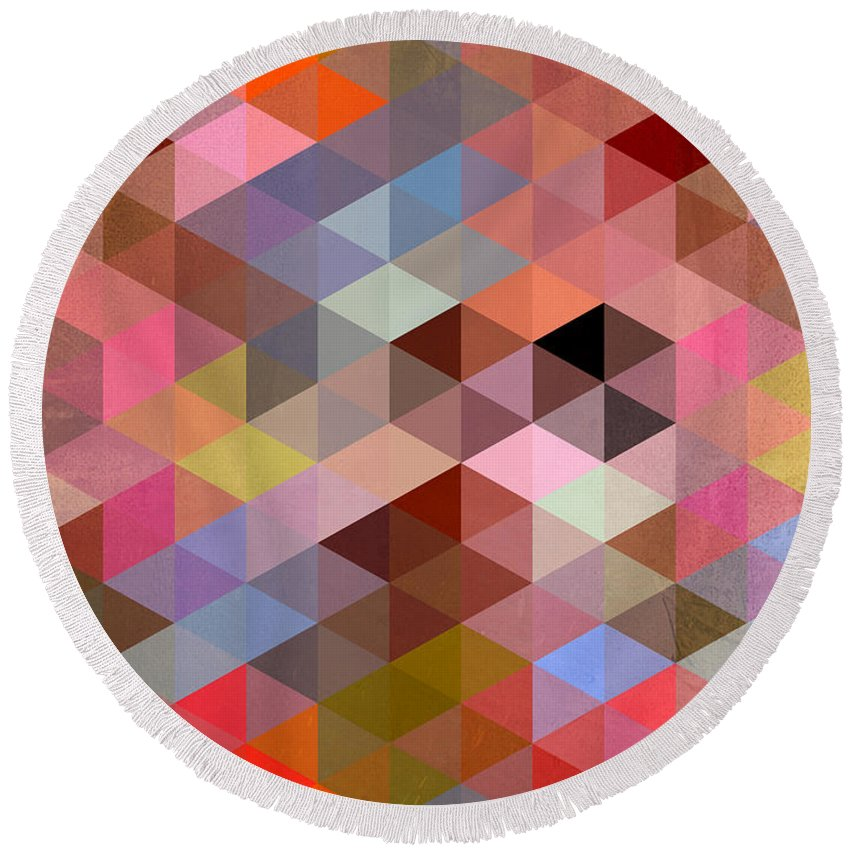 Contemporary Round Beach Towel featuring the digital art Pattern Of Triangle by Mark Ashkenazi
