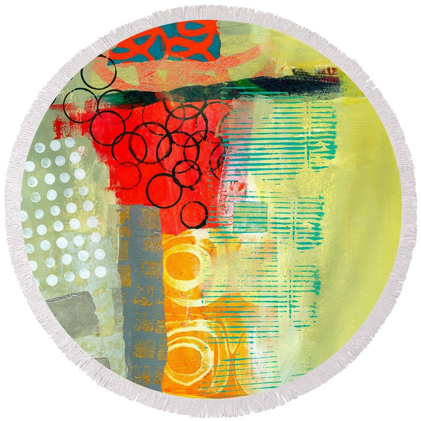 Pattern Round Beach Towel featuring the painting Pattern Study #3 by Jane Davies