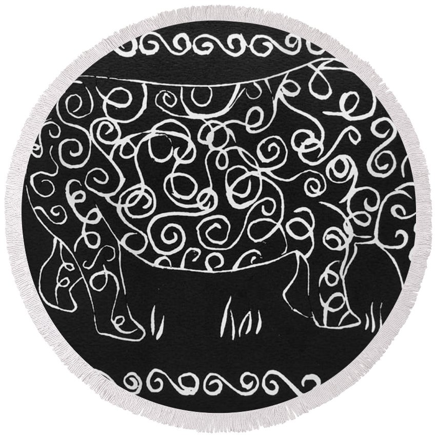Rhino Round Beach Towel featuring the relief Patterned Rhino by Caroline Street