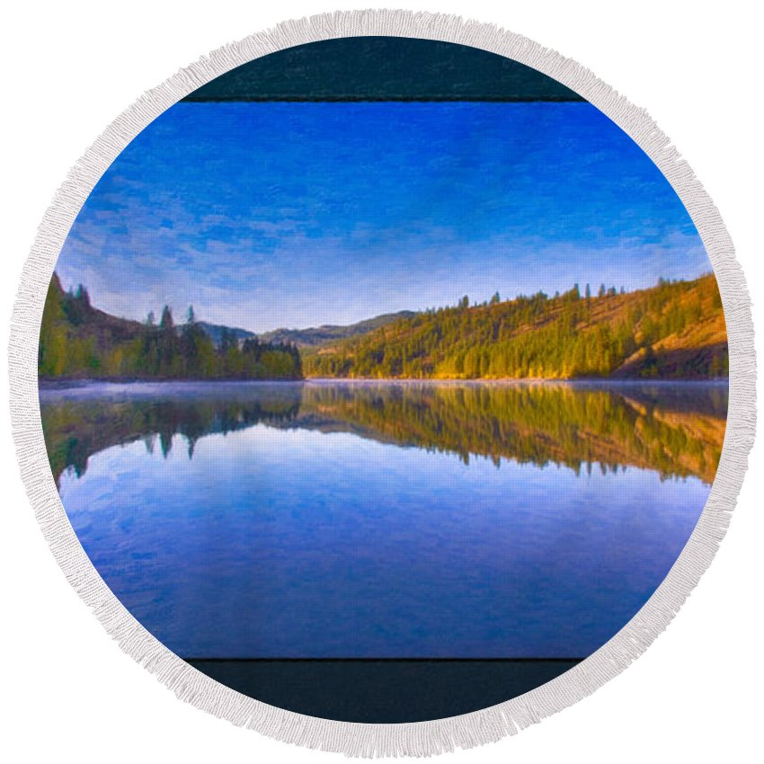 16x9 Round Beach Towel featuring the painting Patterson Lake Fall Morning Abstract Landscape Painting by Omaste Witkowski