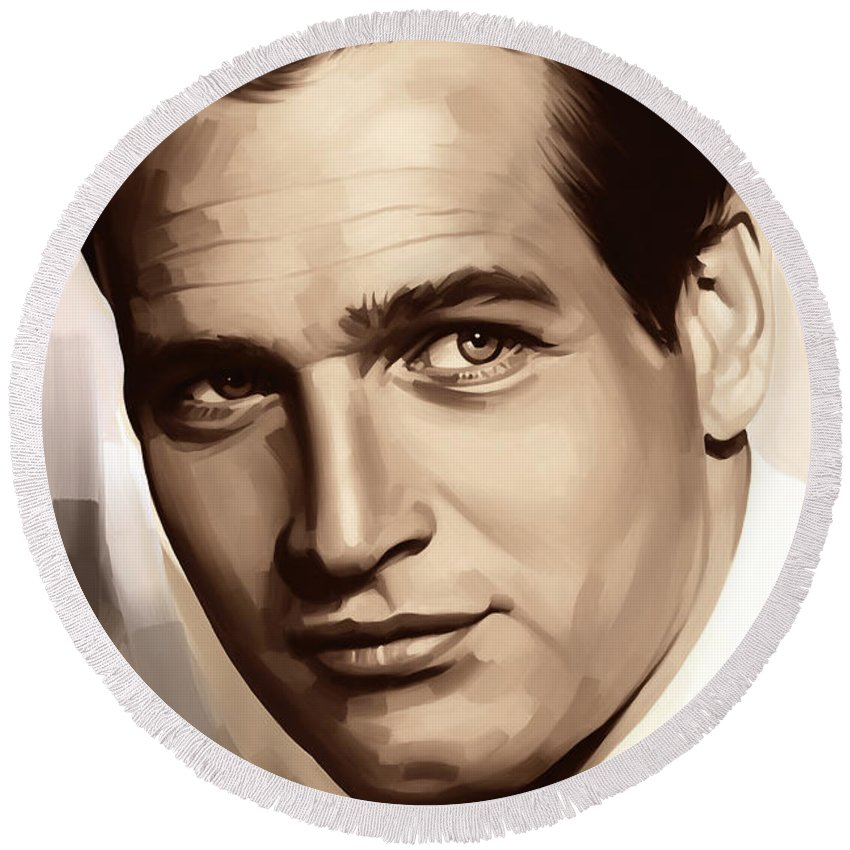 Paul Newman Paintings Round Beach Towel featuring the painting Paul Newman Artwork 1 by Sheraz A