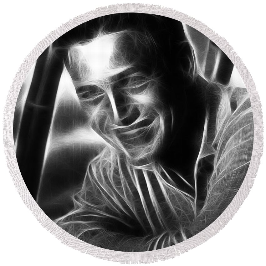 Paul Newman Round Beach Towel featuring the photograph Paul Newman by Doc Braham