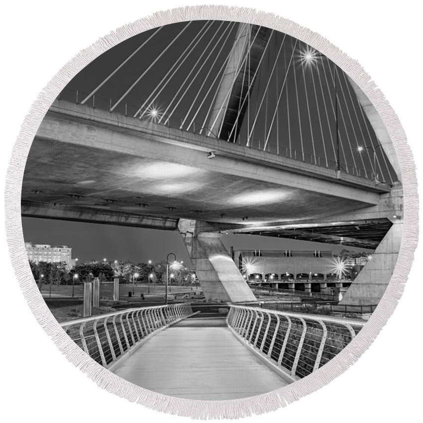 Boston Round Beach Towel featuring the photograph Paul Revere Park And The Zakim Bridge Bw by Susan Candelario