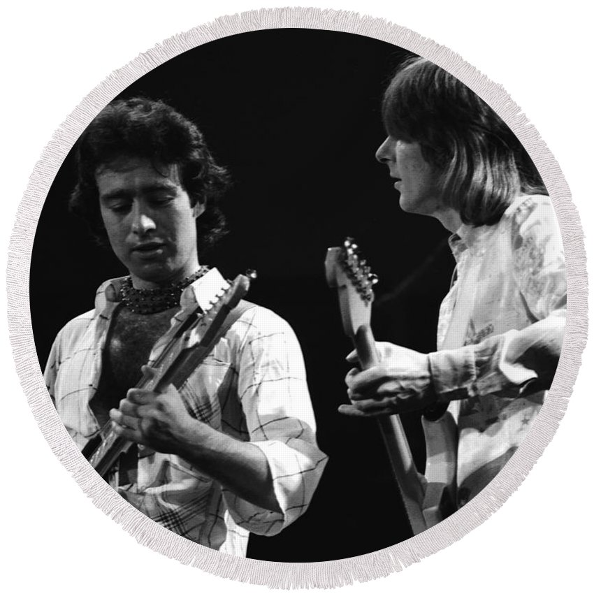 Paul Rodgers Round Beach Towel featuring the photograph Paul And Mick In Spokane 1977 by Ben Upham