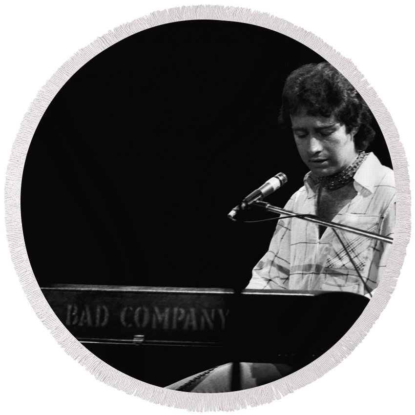 Paul Rodgers Round Beach Towel featuring the photograph Paul At The Keyboard In Spokane 1977 by Ben Upham