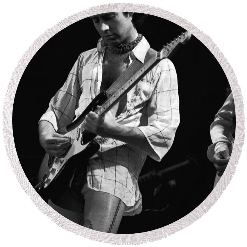 Paul Rodgers Round Beach Towel featuring the photograph Paul At Work On His Guitar In 1977 by Ben Upham