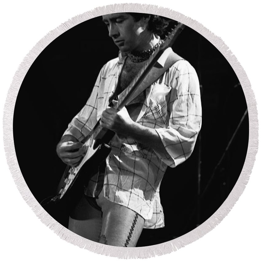 Paul Rodgers Round Beach Towel featuring the photograph Paul On Guitar 1977 In Spokane by Ben Upham