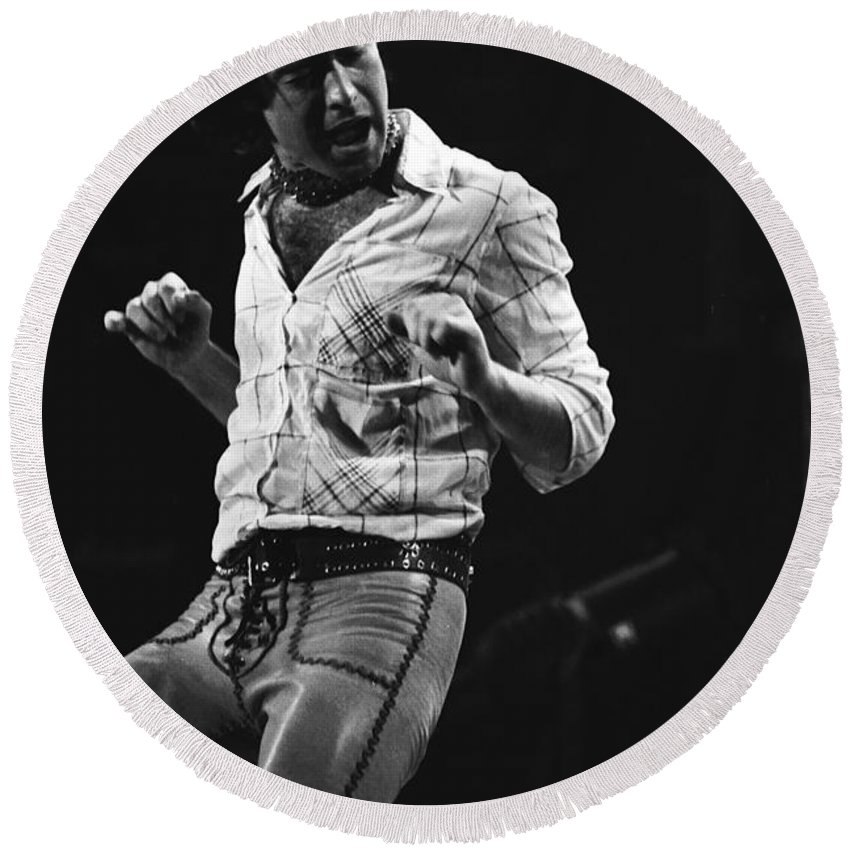 Paul Rodgers Round Beach Towel featuring the photograph Paul Rocks Steady In Spokane In 1977 by Ben Upham