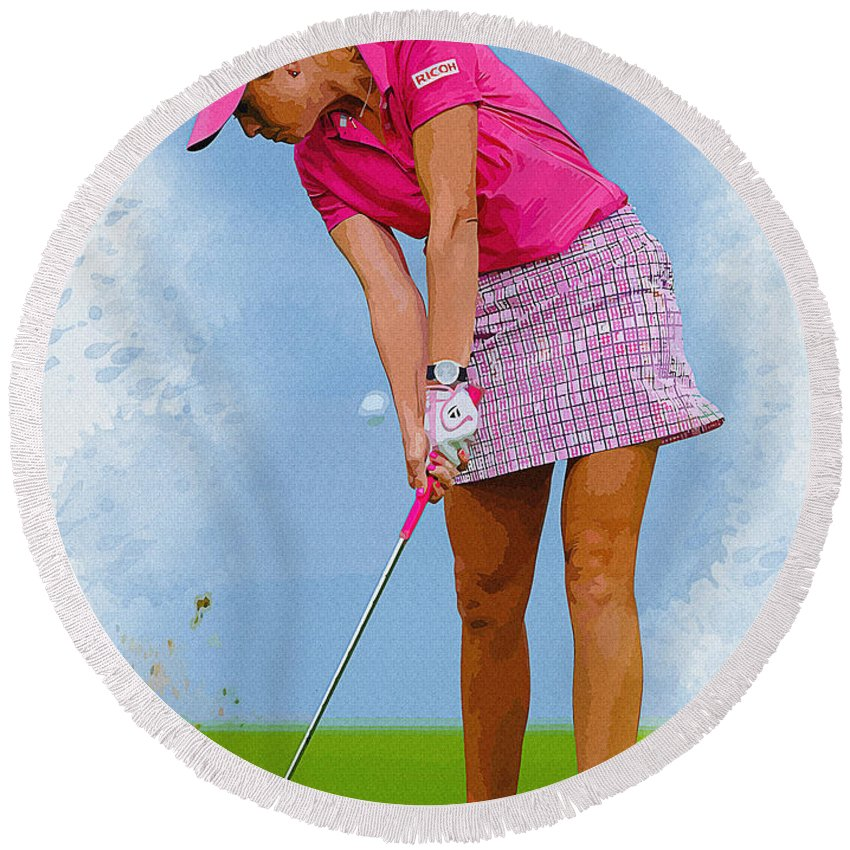 Canada Round Beach Towel featuring the digital art Paula Creamer In Actionon The Evian Masters by Don Kuing