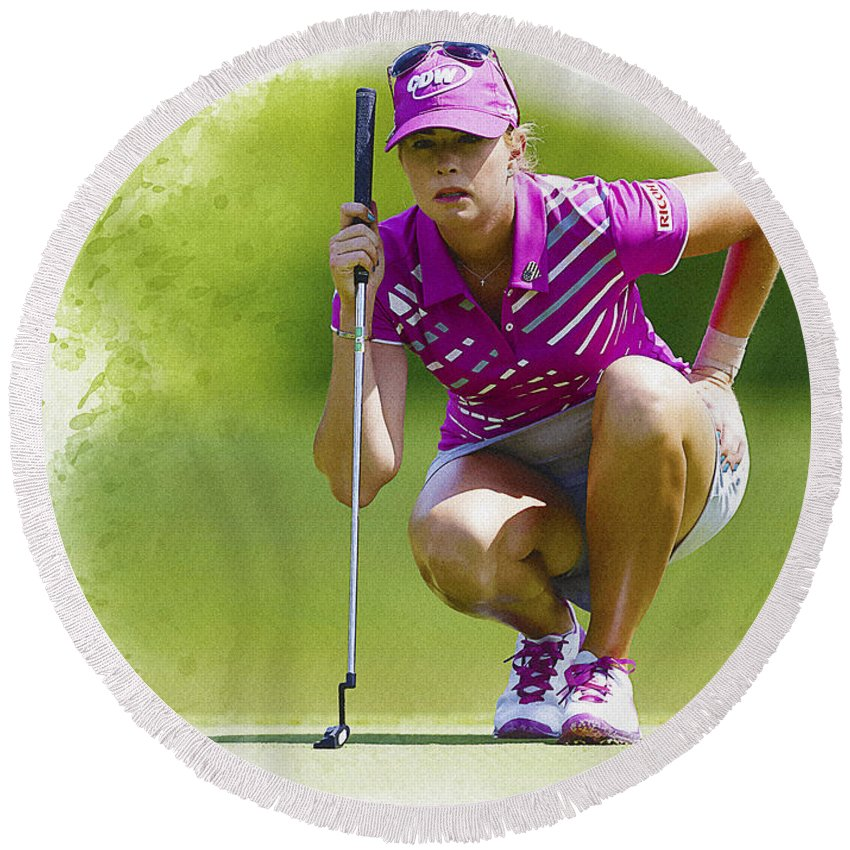 Canada Round Beach Towel featuring the digital art Paula Creamer Lines Up Her Putt by Don Kuing