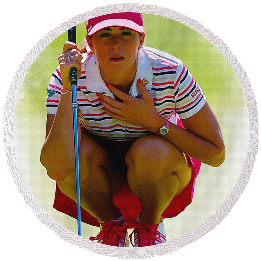 Canada Round Beach Towel featuring the digital art Paula Creamer - Safeway Classic by Don Kuing