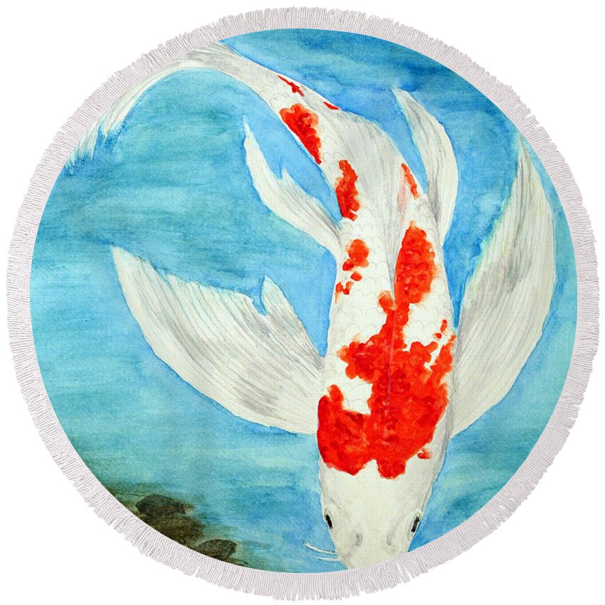 Koi Round Beach Towel featuring the painting Paul's Koi by Marna Edwards Flavell