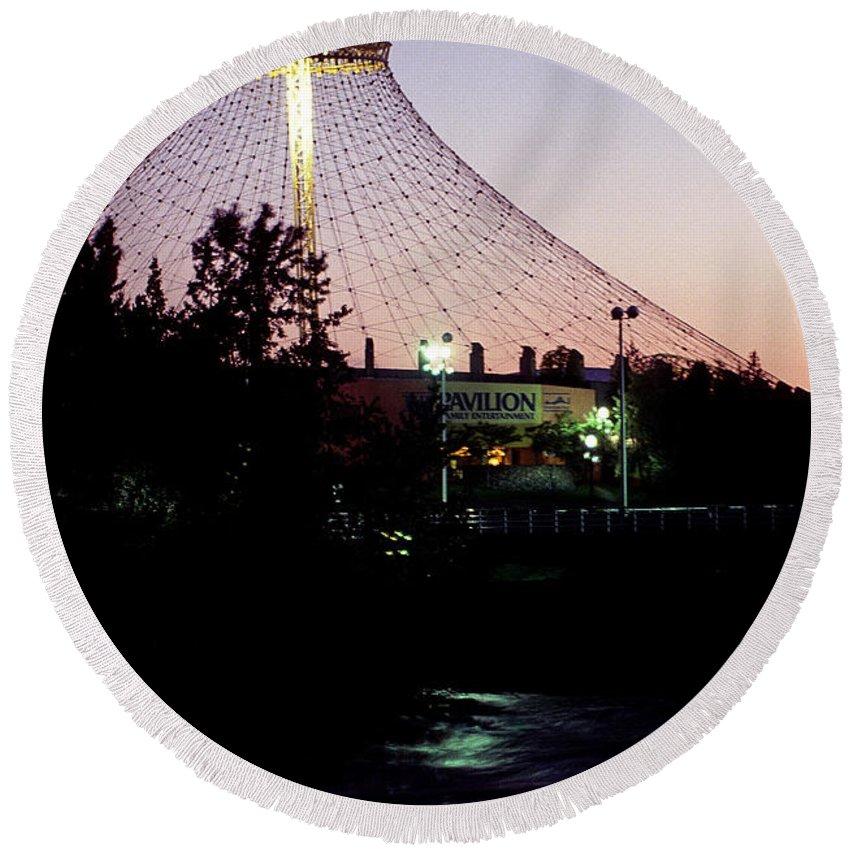 Spokane Washington Round Beach Towel featuring the photograph Pavilion At Twilight II by Sharon Elliott