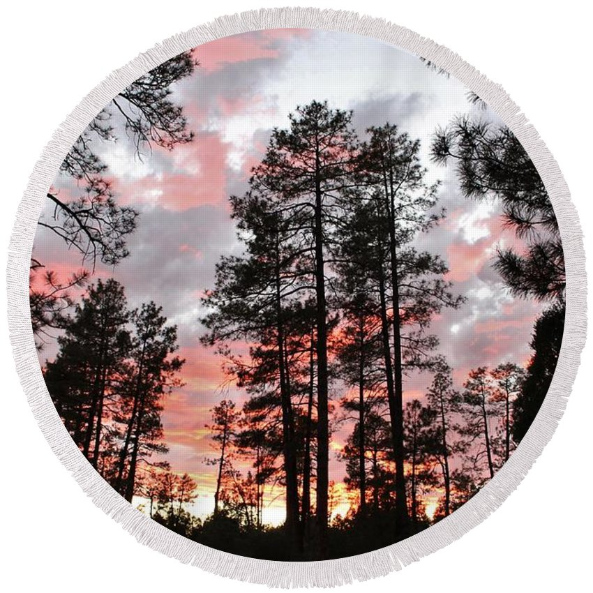 Sunset Trees Round Beach Towel featuring the photograph Payson Pines Sunset by Michelle Cassella
