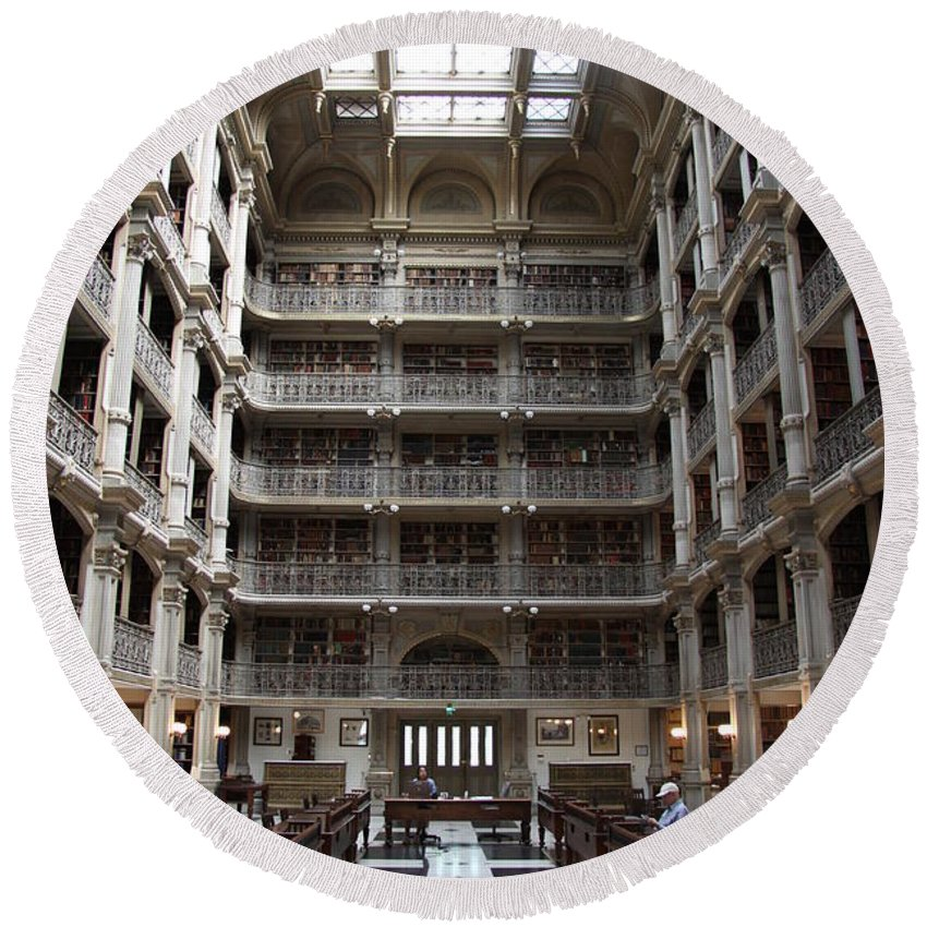 Library Round Beach Towel featuring the photograph Peabody Library Baltimore by Christiane Schulze Art And Photography