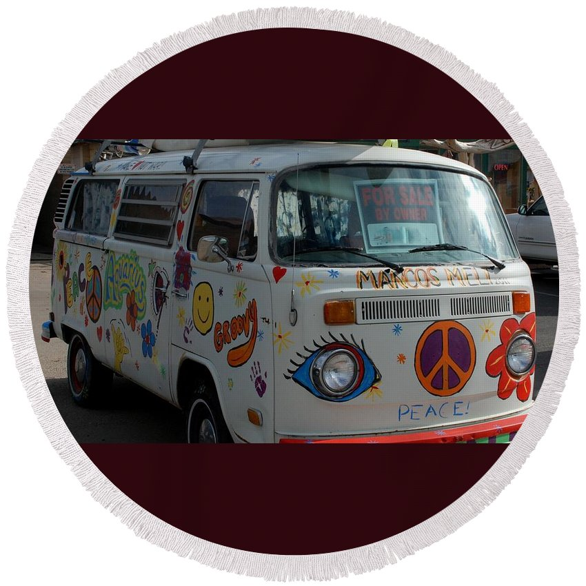 Peace And Love Round Beach Towel featuring the photograph Peace And Love Van by Dany Lison