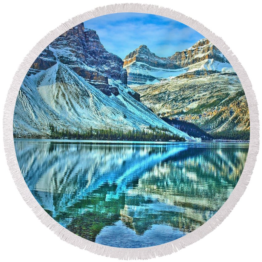 Nature Round Beach Towel featuring the photograph Peace At Bow Lake by Tara Turner