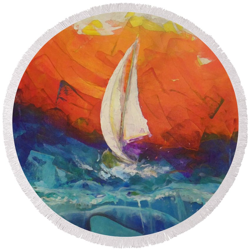 Acrylic On Canvas Round Beach Towel featuring the painting Peace Below The Surface by Marcello Cicchini