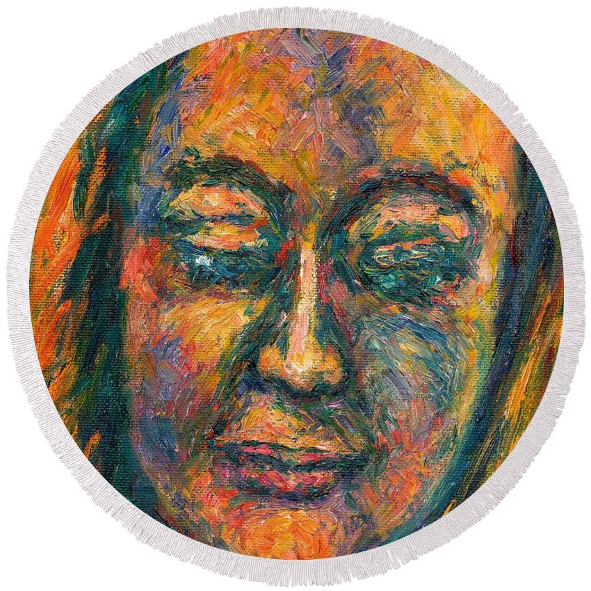 Woman Round Beach Towel featuring the painting Peace by Kendall Kessler