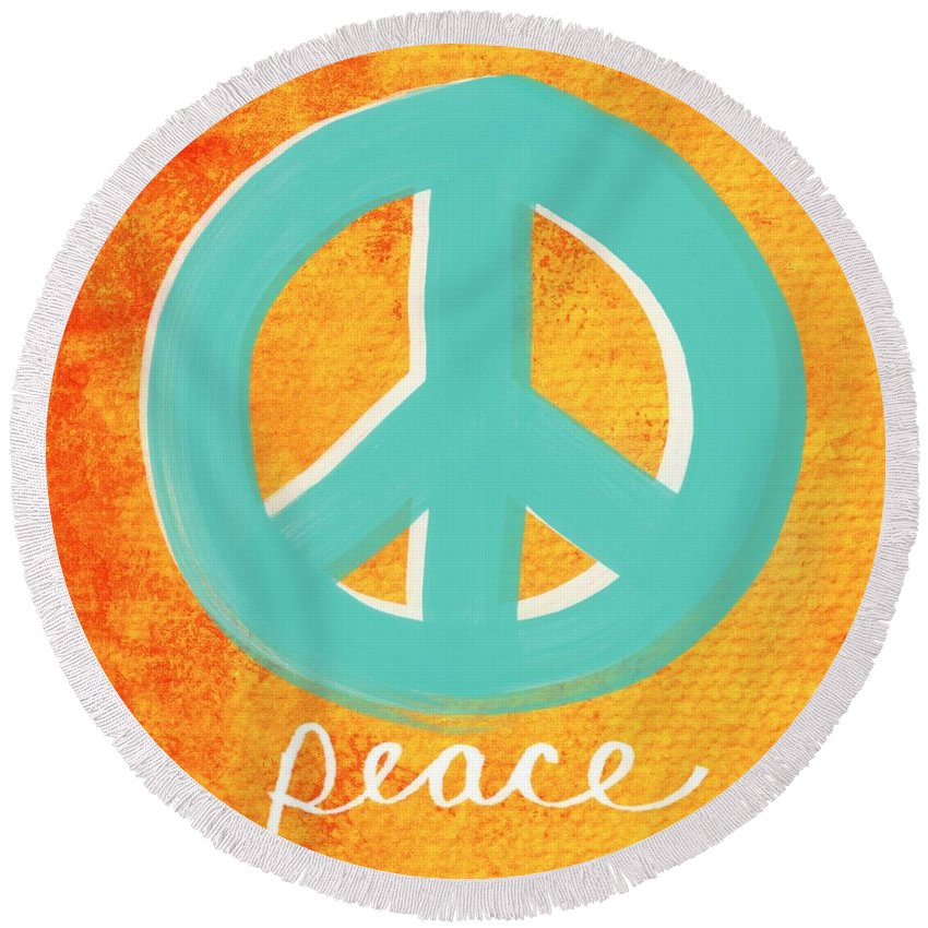 Peace Round Beach Towel featuring the painting Peace by Linda Woods