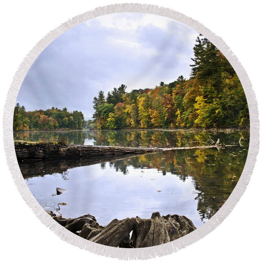 Fall Round Beach Towel featuring the photograph Peaceful Autumn Lake by Christina Rollo