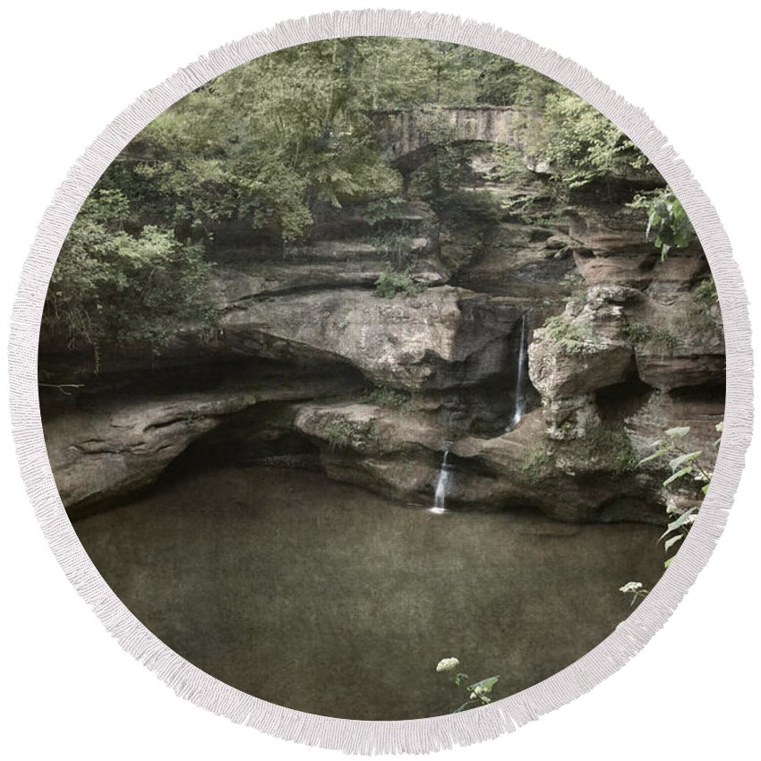 Waterfall Round Beach Towel featuring the photograph Peaceful Contemplation by Dale Kincaid