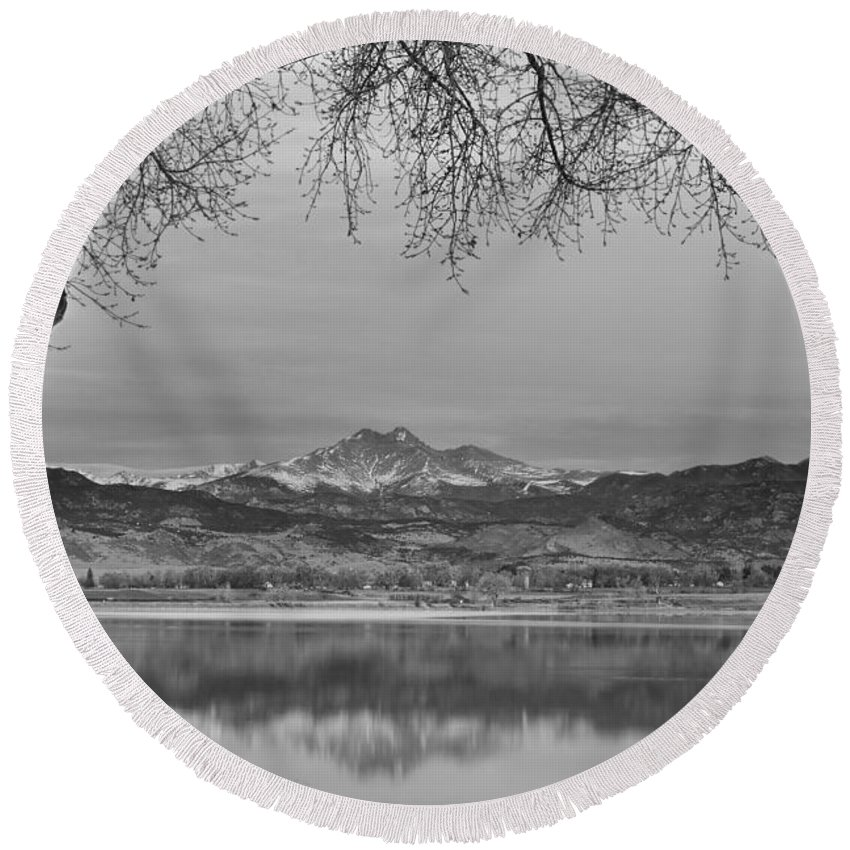 'rocky Mountains' Round Beach Towel featuring the photograph Peaceful Early Morning First Light Longs Peak View Bw by James BO Insogna
