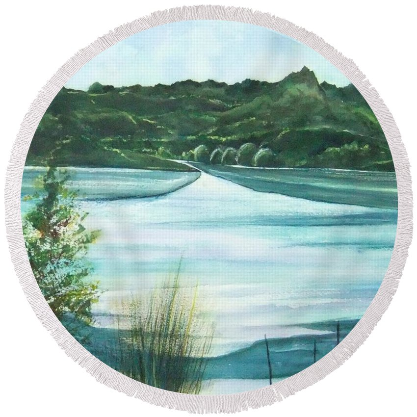 Lake Round Beach Towel featuring the painting Peaceful Lake by Debbie Lewis