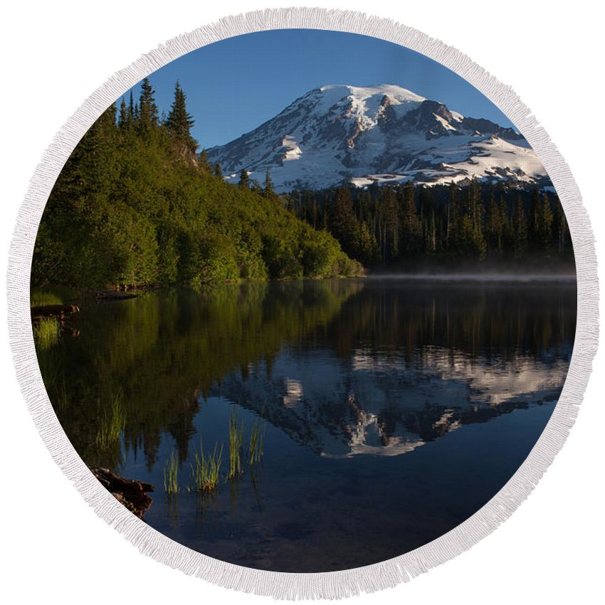 Mount Rainier Round Beach Towel featuring the photograph Peaceful Mountain Serenity by Mike Reid