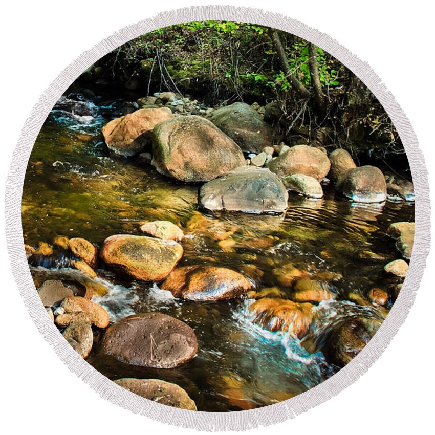 Stream Round Beach Towel featuring the photograph Peaceful Mountain Stream by Robert Bales