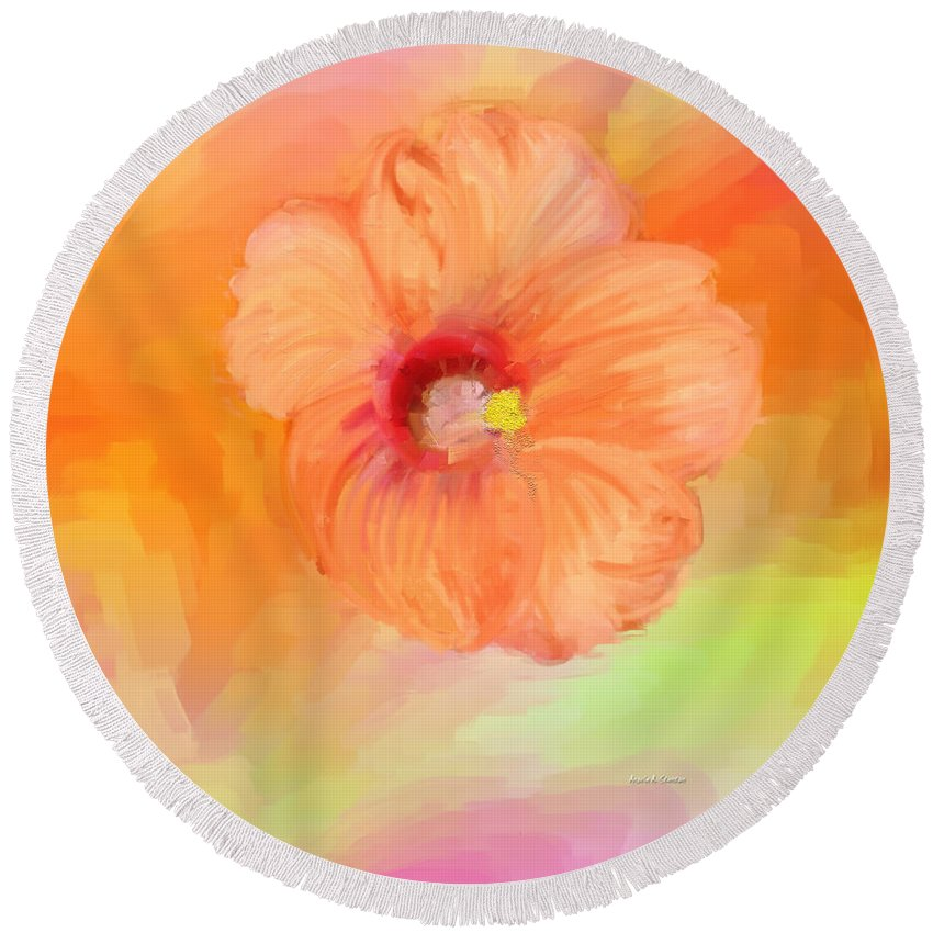 Peach Hibiscus Round Beach Towel featuring the painting Peach Hibiscus by Angela Stanton