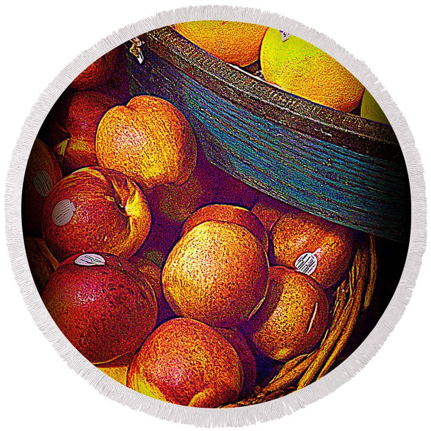 Fruit Round Beach Towel featuring the photograph Peaches And Citrus With Blue Wooden Basket by Miriam Danar