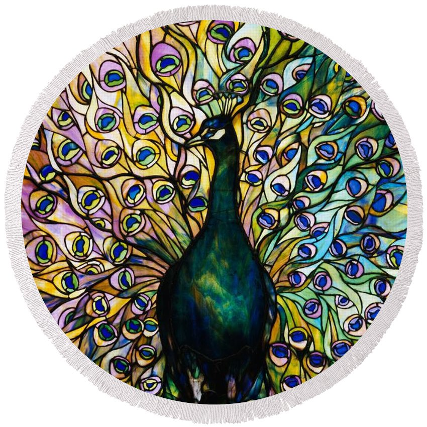 Peacock Round Beach Towel featuring the photograph Peacock by American School