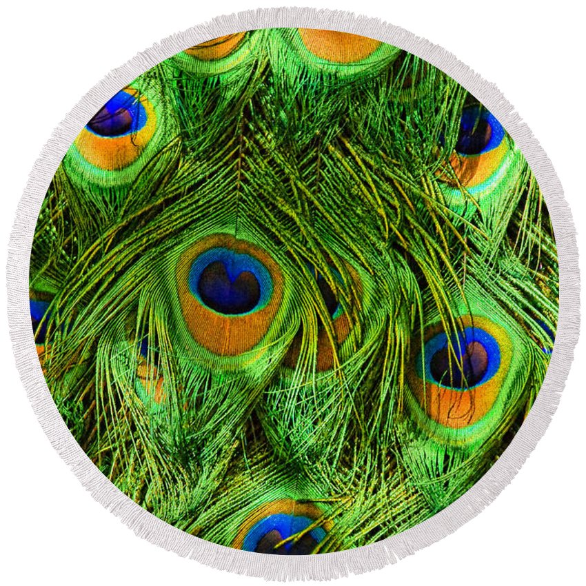 Animal Round Beach Towel featuring the photograph Peacock Feathers by Marcia Colelli