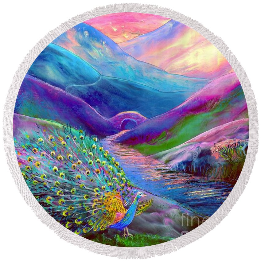 Sunset Round Beach Towel featuring the painting Peacock Magic by Jane Small