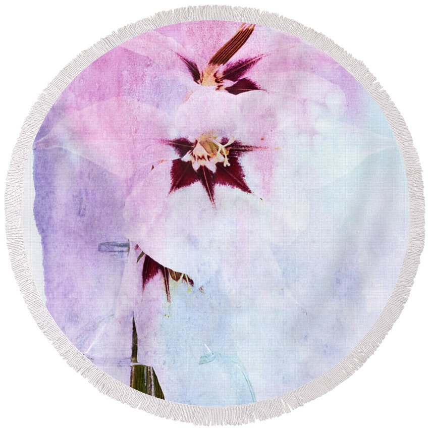 Orchid Round Beach Towel featuring the digital art Peacock Orchids by Ann Garrett