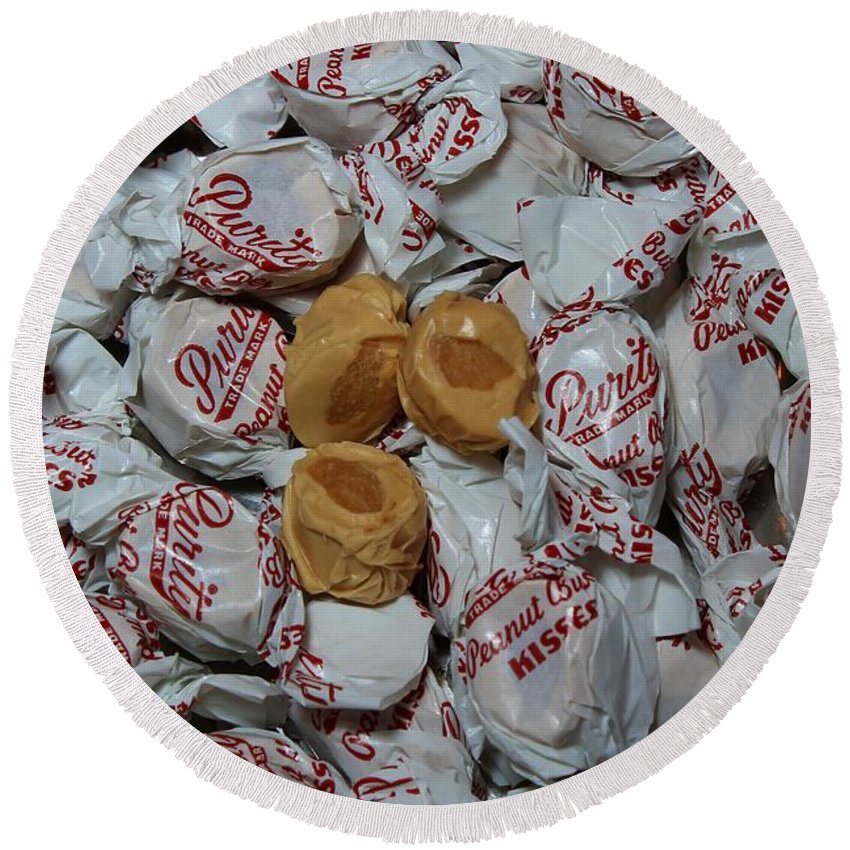 Peanut Butter Kisses Round Beach Towel featuring the photograph Peanut Butter Kisses - Candy - Sweets - Treats by Barbara Griffin