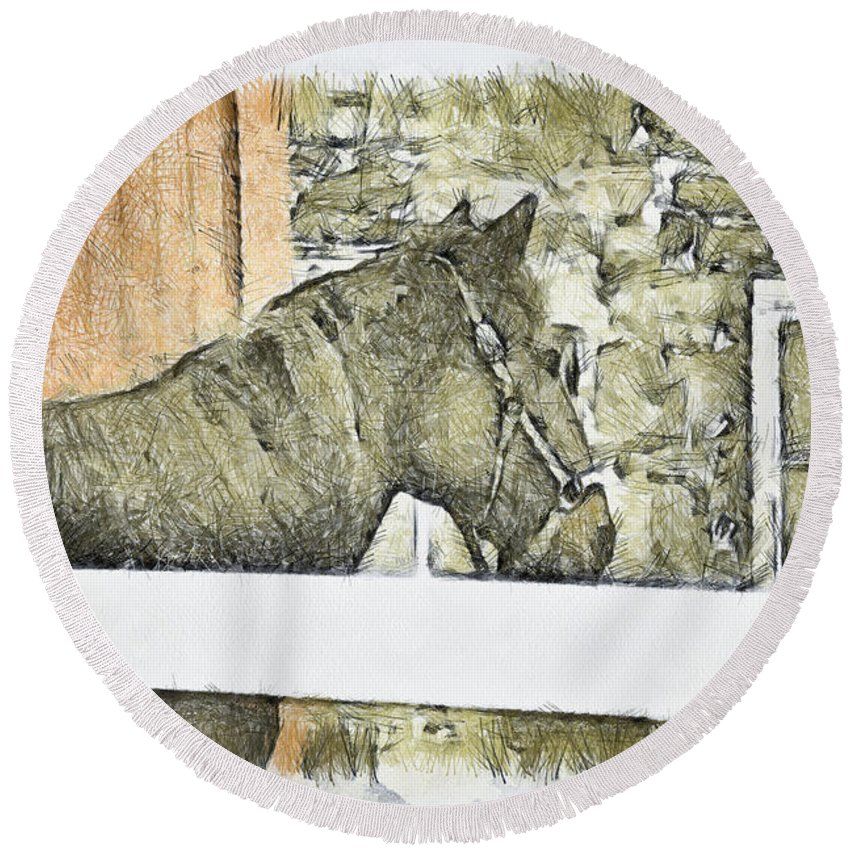 Horse Round Beach Towel featuring the photograph Peanut by Trish Tritz