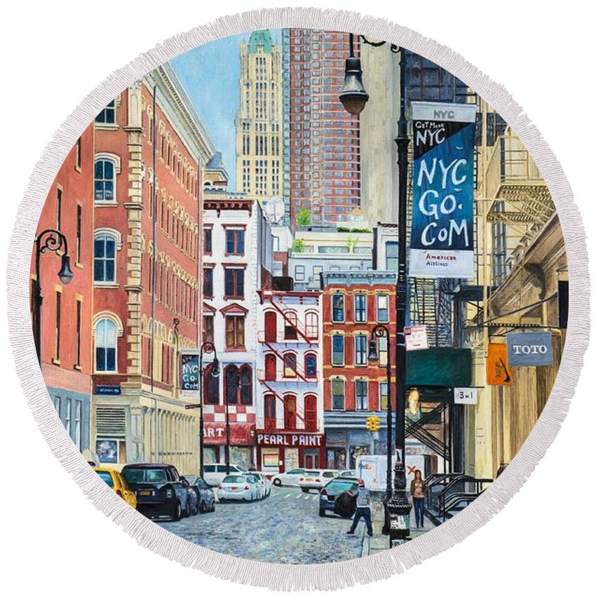 Pearl Paint Canal St. From Mercer St. Nyc Round Beach Towel for Sale ...