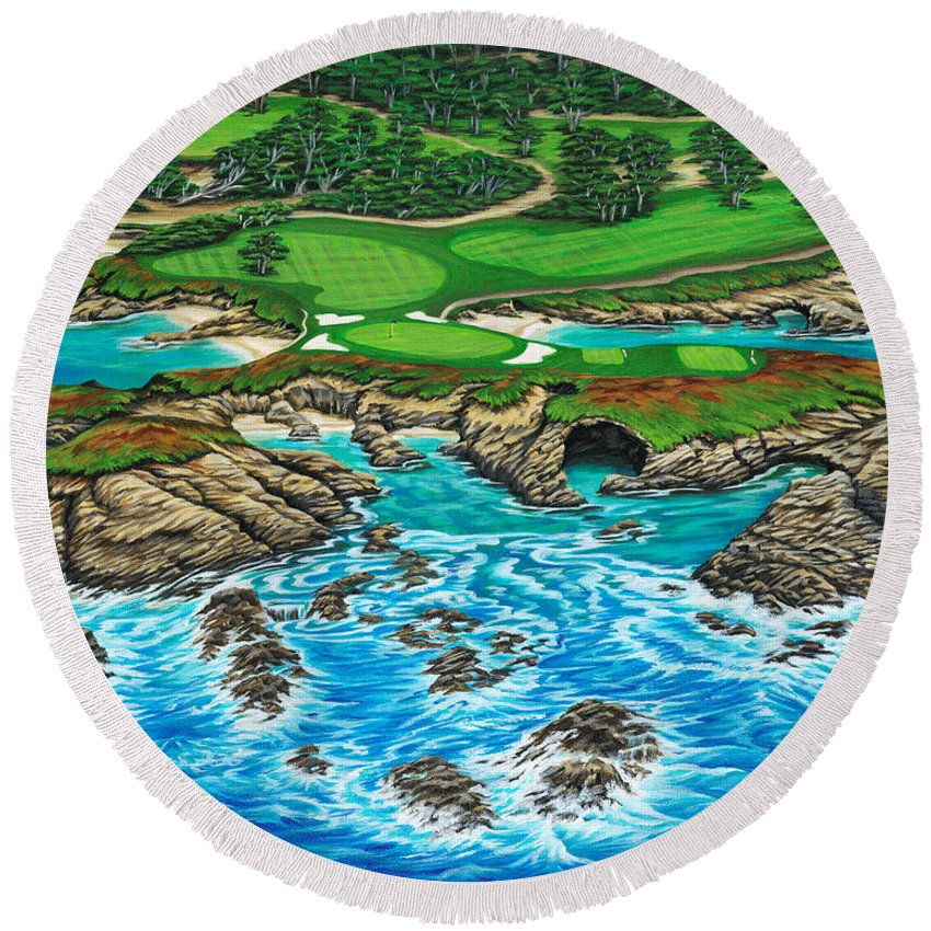 Ocean Round Beach Towel featuring the painting Pebble Beach 15th Hole-north by Jane Girardot