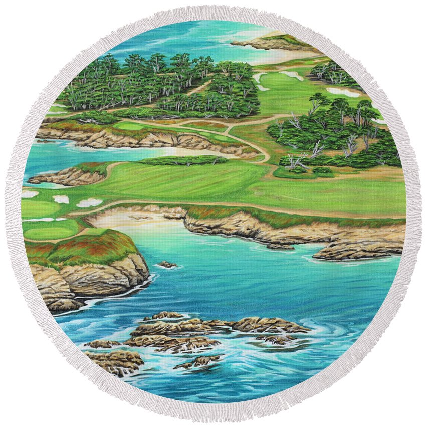 Ocean Round Beach Towel featuring the painting Pebble Beach 15th Hole-south by Jane Girardot